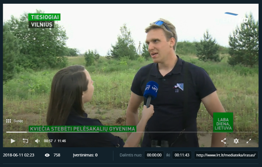 "Lithuanian Ornithological Society was invited to National TV show ""Laba diena Lietuva"""